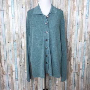 Peruvian Connection XL Blue Wool Cardigan Sweater